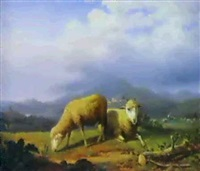 moutons devant un paysage de haute garonne by theodore william richards