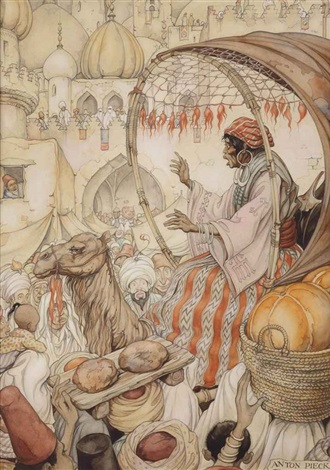 from arabian nights the story of the return of kanmakan in bagdad by anton pieck