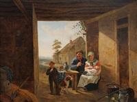 famille paysanne dans la grange by constantinus-fidelio coene
