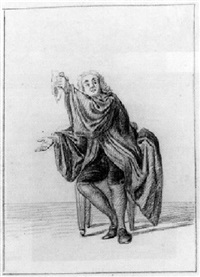 a seated gentleman in a large cloak, his right hand outstretched and holding up a handkerchief in his left hand by nicholaes muys