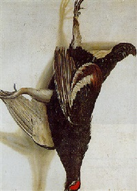 a tromp-l'oeil of a blackcock hanging from a nail by cornelis (bilcius) biltius