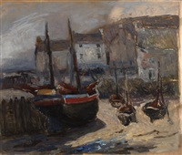 beached boats, cornwall by william edwin atkinson