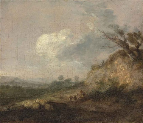 a landscape with a shepherd and his dog his flock resting by a dune in the foreground by thomas gainsborough