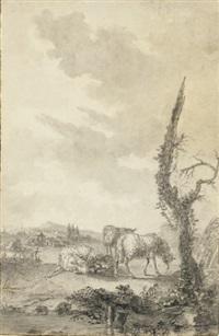 des moutons dans un pâturage, un village à l'arrière-plan by louis le sueur