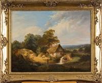 paysage animé au moulin à eau by adam van peursen