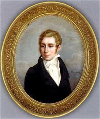 a young gentleman called victor jean-baptiste simon jacquinot of pamplona, deputy public prosecutor of melun, in black coat, white waistcoat and knotted cravat, curling blonde hair and side-whiskers by pauline augustin