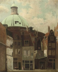 daily activities in front of the koepelkerk, amsterdam by ger (gerardus petrus) langeweg
