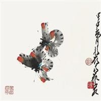 蝴蝶 镜心 设色纸本 by zhao shaoang