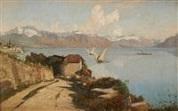 voiles et vapeur sur le lac léman by francois-louis-david bocion