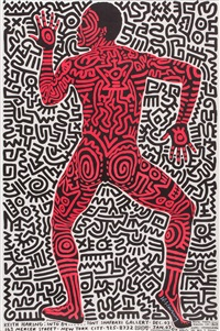 into 84 - poster for tony schafrazi gallery by keith haring