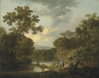 a wooded river landscape with an angler on a bridge and figures resting on the bank, ruins on the hills beyond by george smith of chichester