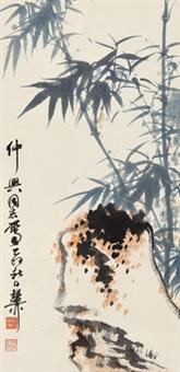 竹石 立轴 设色纸本 by xie zhiliu