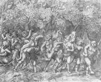 bacchanale in a forest by giulio sanuto