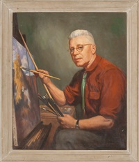 self portrait of the artist at his easel by john newton howitt