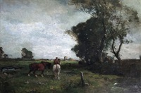 open landscape with two working horses to foreground in a rural landscape by frank mura