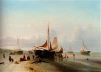moored fishing fleet on the beach of scheveningen by maurits verveer