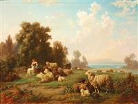 shepherdess with sheep by louis (ludwig) reinhardt