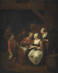 interior of a tavern with boors carousing by jan baptist lambrechts