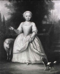 portrait of a young girl, full length, in a white and pink dress, with a sheep and a dog, in a garden by jan maurits quinkhardt