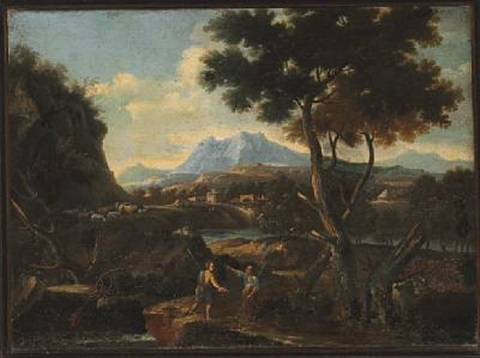 landscape with two shepherds by jan frans van bloemen