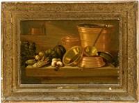 küchenstillleben mit kupfergeschirr und gemüsen by e.r. lautter