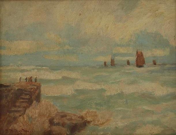 meeresbrandung mit segelbooten by gerhard arij ludwig morgenstjerne munthe