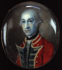 british officer wearing a scarlet coat with blue facings and gold button holes, blue waistcoat trimmed with gold braid by james scouler