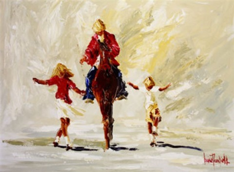 figure on horseback with children by louise mansfield