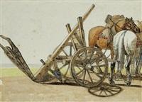 charrue avec un attelage à côté (study) by georges michel