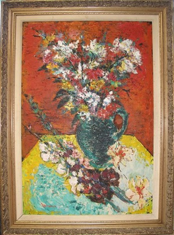 untitled - still life with vase of flowers by david nemerov