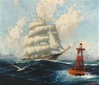 homeward bound, clipper ship likely entering los angeles harbor by joe duncan gleason