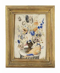 tulips, convolvulus and other flowers in an urn on a plinth, with a butterfly and a parrot by giovanna garzoni