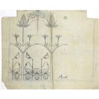 ensemble de 22 calques pour des projets de décors by carlo bugatti