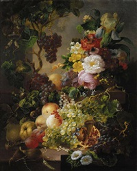 a still life with fruit and flowers amongst vines on a ledge by jan van der waarden