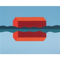 red barn reflected by charles pachter