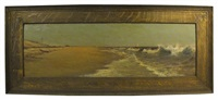 beach view with figures and crashing waves by william formby halsall