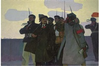 lenin with sailors by m. poplavsky
