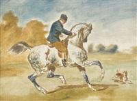 cavalier sur un cheval gris pommelé et son chien by jonny audy