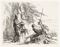 donna che posa le mani su un vaso, soldato e schiavo (from vari capricci) by giovanni battista tiepolo