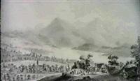 vue de la vill et du lac de zug... by heinrich freudweiler