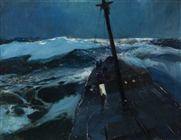 southern cruiser, maritime nocturne with ship in rough water by john whorf