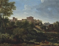 an italianate wooded landscape with figures at rest, a hilltop town beyond by gaspard dughet