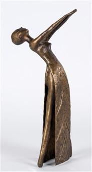 tanzendes mädchen in langem seitlich geöffnetem kleid by meta (maria theresia) mettig von ellenberger