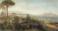 a view of the bay of naples with the vesuvius beyond by pierre (henri théodore) tetar van elven