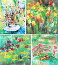 laleh; gueranier, 2002; fleures, 2004; fleures, 2003 (4 works) by vanecha roudbaraki