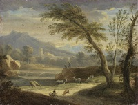 a river landscape with figures beside a waterfall by paolo anesi