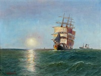 seascape with a full-rigged ship and a steamer in low sun by alfred jensen