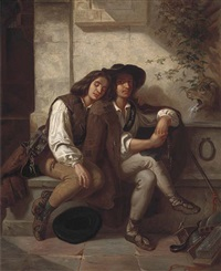 twins resting at the fountain by carl huth