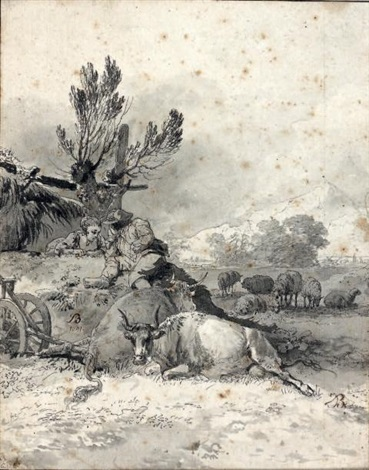 deux jeunes pâtres regardant des vaches et des moutons by jean jacques de boissieu