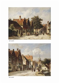 villagers strolling in a sunlit street (+ villagers walking along a canal, a church in the distance; pair) by adrianus eversen